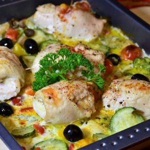 chicken, roulades, vegetables