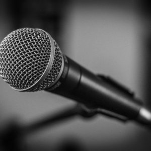 microphone, stage, black and white